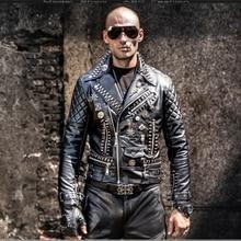 Veste Cuir Homme Men Leather Jacket Rivets Punk Rock Stage Costume Street Slim Fit Overcoat Locomotive Jackets Leather Coats