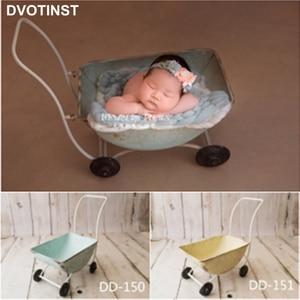 Dvotinst Newborn Baby Photography Props Iron Trolley Cart Mini Barrow Fotografia Accessories Infant Studio Shooting Photo Props