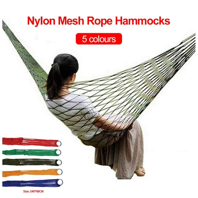 Портативный нейлоновый туристический гамак, сетчатая качели для отдыха на открытом воздухе, мебель для сада и пикника, подвесная кровать дл...