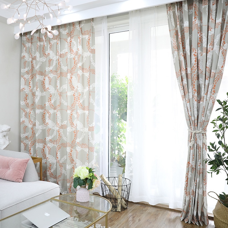 Simple Curtains for Living Room, Bedroom Balcony Polyester Cotton Window Curtains Tulle Hige Shade Orange Curtain Green.  - buy with discount
