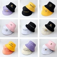 bucket hats women letter embroidered double sided fisherman hat korean style solid climbing outdoor sunscreen bucket hat zz 337