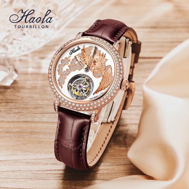 HAOFA توربيون الميكانيكية ساعة يد للنساء الفاخرة كريستال موضة تحلق توربيون الياقوت المرأة ساعة مقاوم للماء