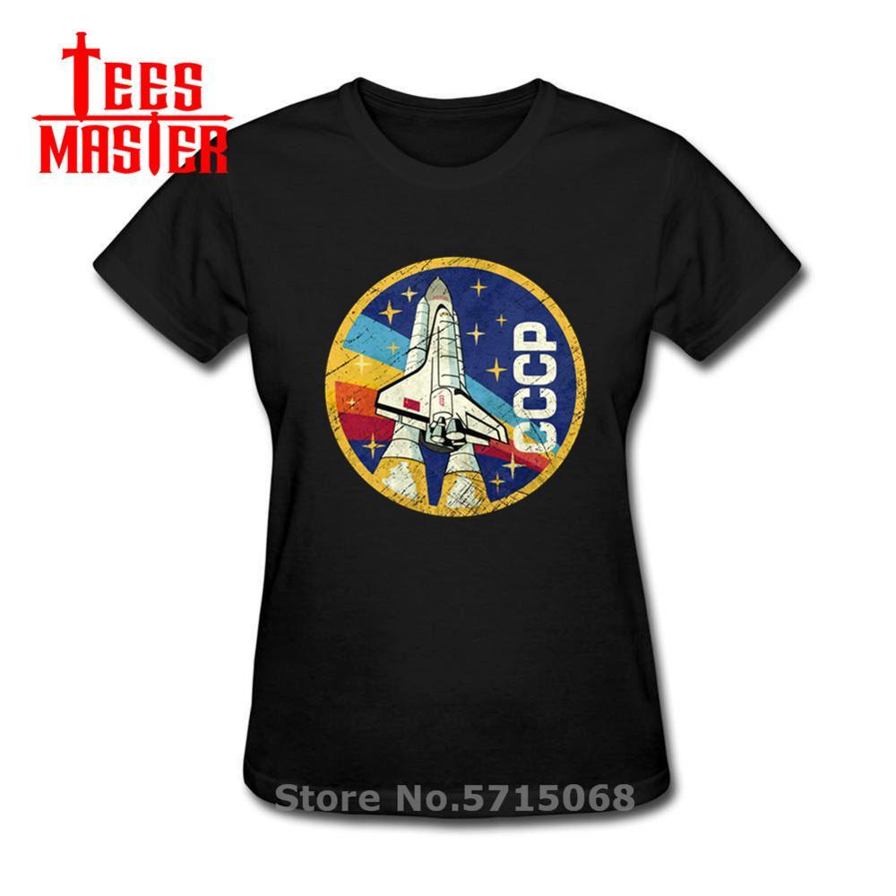 Camiseta Casual 3D divertida USSR cccp para mujeres 2020 la Unión Soviética Rusia espacio camiseta Top Tee cohete Shuttle emblema V01T-Shirt