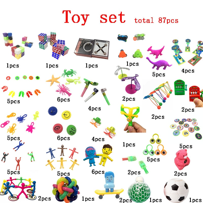Total 87 Pieces Extrusive-Solving Fidget Kids Toys 2020 Hot Selling Various Styles Set Wholesale