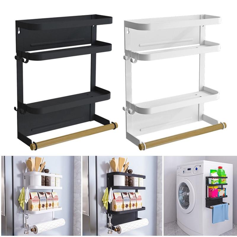 منظم ثلاجة قابل للطي ، رف توابل مغناطيسي للثلاجة ، حامل مناشف ورقية ، متعدد الأغراض ، رف تخزين المطبخ QP2