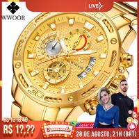 Часы наручные WWOOR Мужские кварцевые, брендовые роскошные золотистые водонепроницаемые спортивные с хронографом из нержавеющей стали, 2021