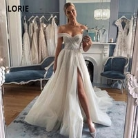 lorie off the shoulder tulle wedding dresses sleeveless open back beach bridal gowns princess boho wedding gowns with split