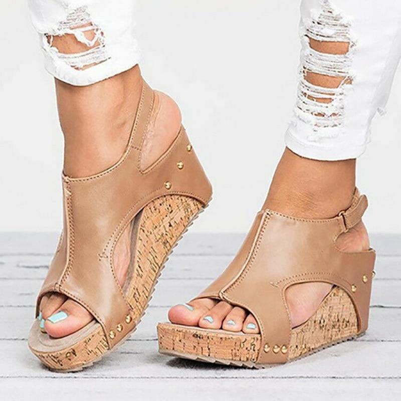 Sandały kliny buty damskie obcasy Sandalias Mujer letnie buty Clog damskie espadryle damskie sandały 2020 nowe