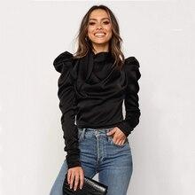 2019 Mode Vrouwen Satijnen Blouses Boog Hals Lange Mouwen Elegante Blouse Office Lady Shirts Vrouwelijke Blusas S-XL