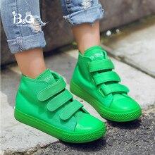 B & G الأطفال قماش أحذية التزلج المضادة للانزلاق عالية أعلى الفيلكرو الفتيان أحذية رياضية تنفس الفتيات أحذية رياضية الأبيض