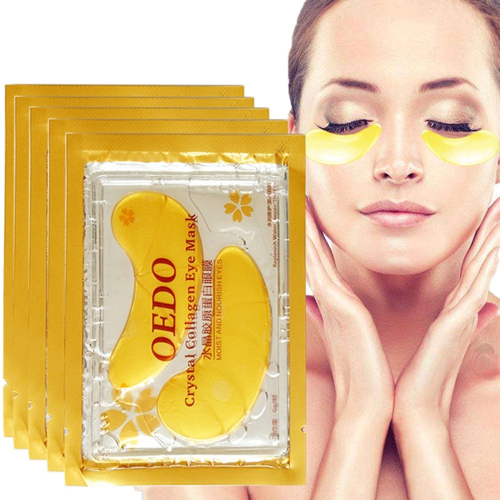 5/10 pares belleza oro cristal colágeno piel cuidado de los ojos parches para Círculos oscuros, Puffiness, arrugas y bolsas de Gel de ojos TSLM1