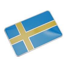 Carro de alumínio adesivos bandeira sueca decalque emblema decorações emblema para volvo v70 xc60 s60 v60 volkswagen golf passat toyota auris
