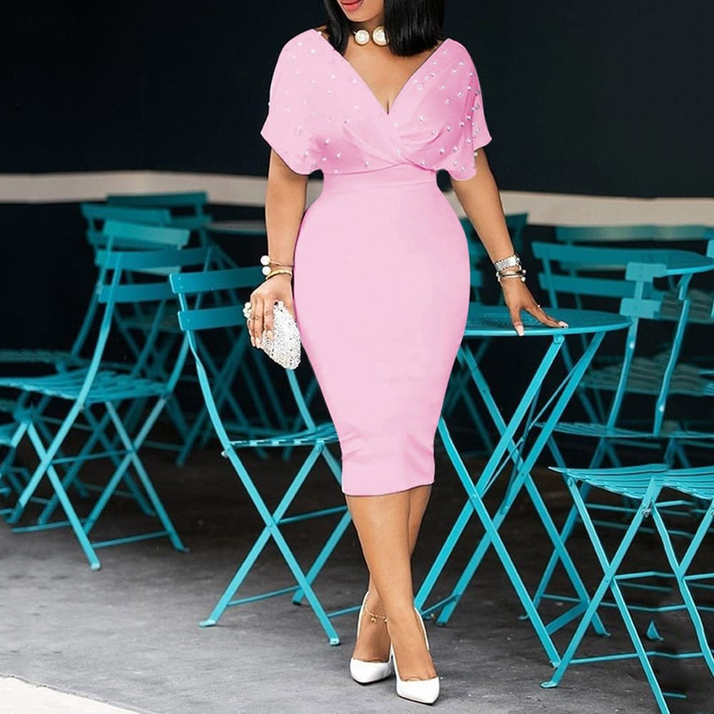 3xl Perlen Dame Meerjungfrau Kleid 2020 Afrikanische Frauen Rosa Midi Kleider Robe Femme Vestiods Elegante Büro Dame Cocktail Kleid