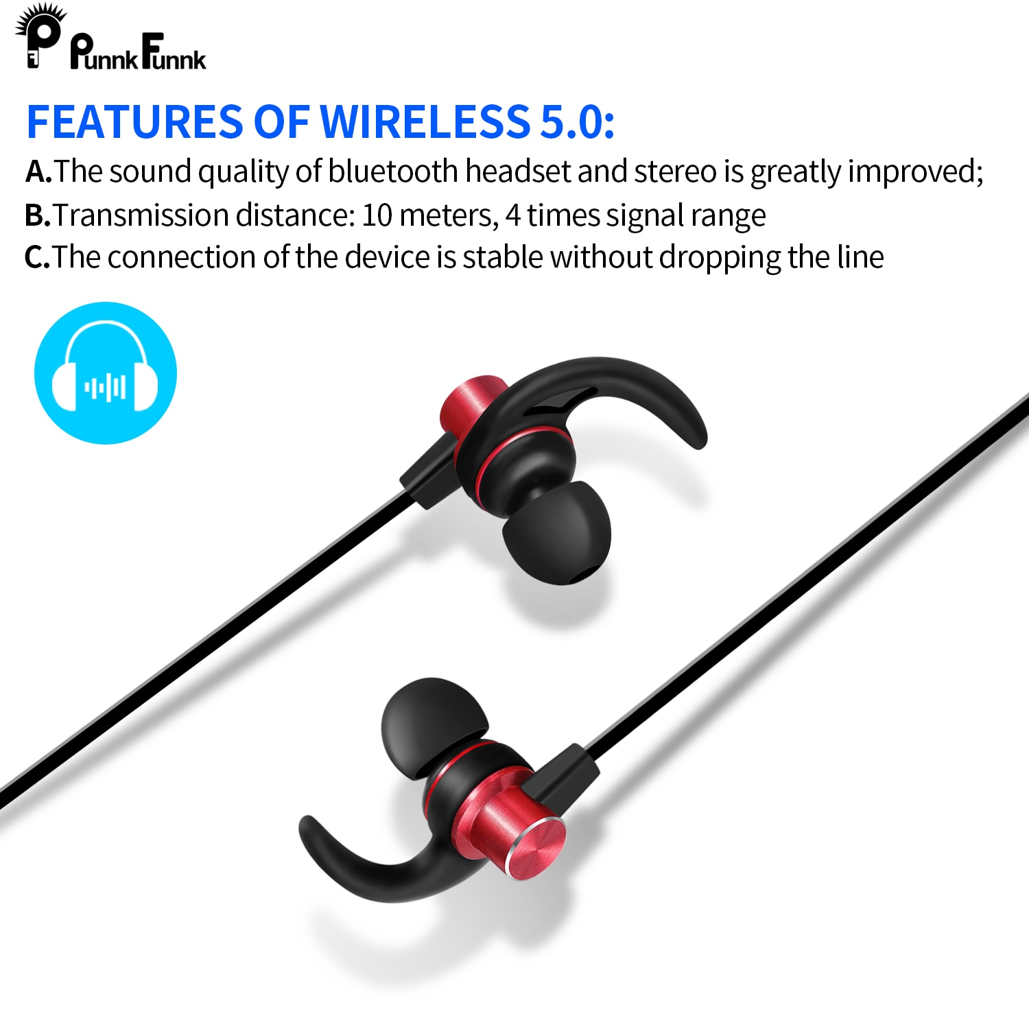 PunnkFunnk Bluetooth Earphone Wireless Sport  noise canceling headphone Bluetooth 5.0 Magnetic Stereo  gaming headset  ear buds enlarge