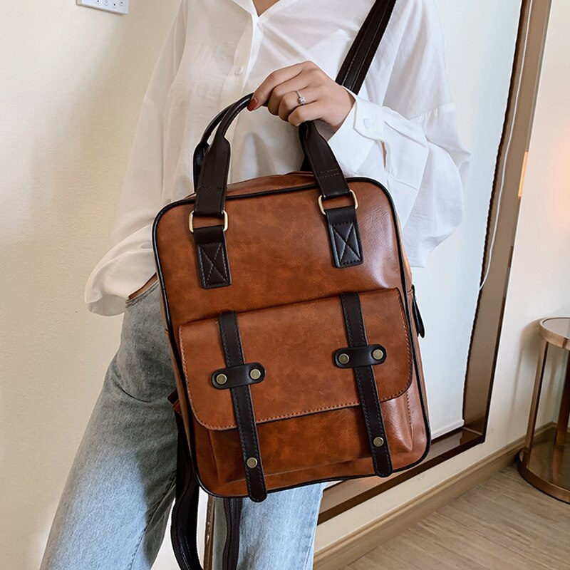 2021 mochila الأنثوية مكافحة سرقة الحقائب المدرسية مقاوم للماء السفر خمر محمول براون الجلود الكبيرة على ظهره المرأة الكورية مصمم