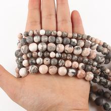 4 6 8 10 12mm pierre naturelle rose zèbre mat poli Jaspers mat perles rondes lisses pour la fabrication de bijoux Bracelet à bricoler soi-même perles entretoises