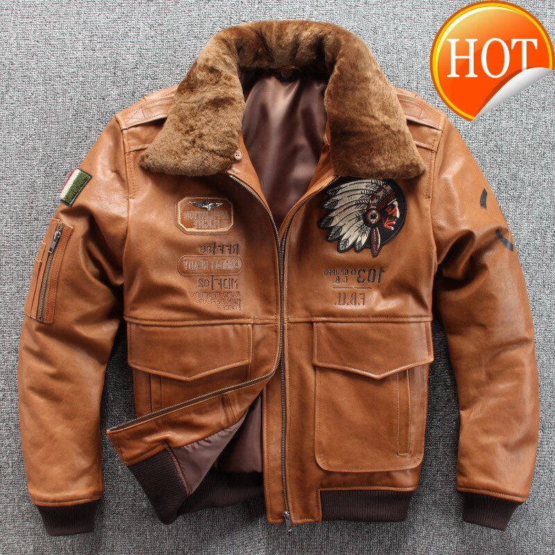 Hombres 2020 Nuevo bordado calavera india de vuelo de la Fuerza Aérea A1 piloto chaqueta de piel de oveja de lana Casual collar chaqueta cuero chaqueta S-XXXL