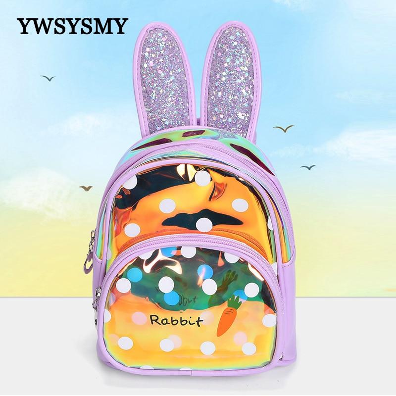 Mini Children Backpack Cute Rabbit Ears Laser Leather Girls School Bags Fashion Backpacks Kids Book Bag Kindergarten Small Bags