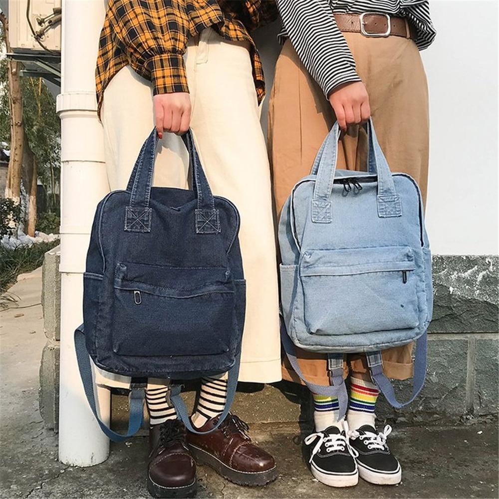 Mochila universitaria Simple de tela vaquera, mochila de viaje, mochila para mujer, mochila vaquera con cremallera, bolsa azul claro de algodón para mujer