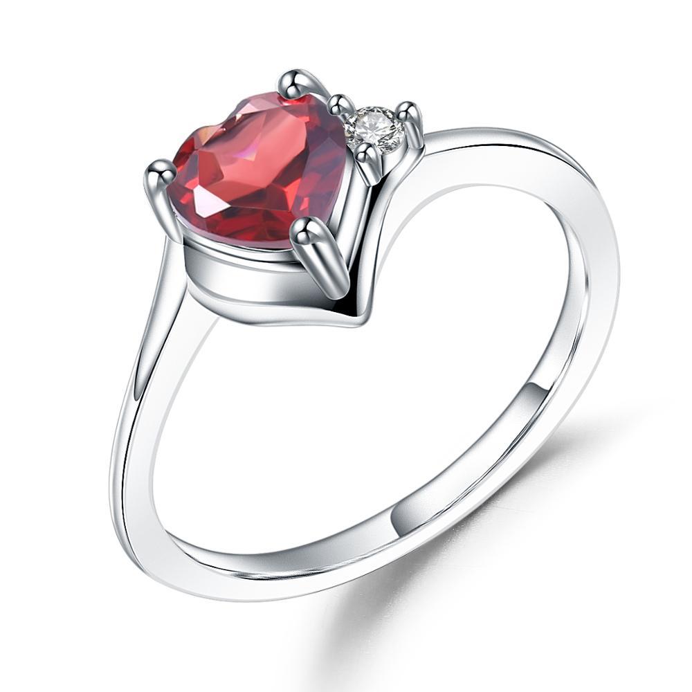 GEMS BALLET 0.84Ct granate Natural anillo de corazón de plata de ley 925 auténtica romántico para las mujeres de regalo de día de San Valentín de joyería fina