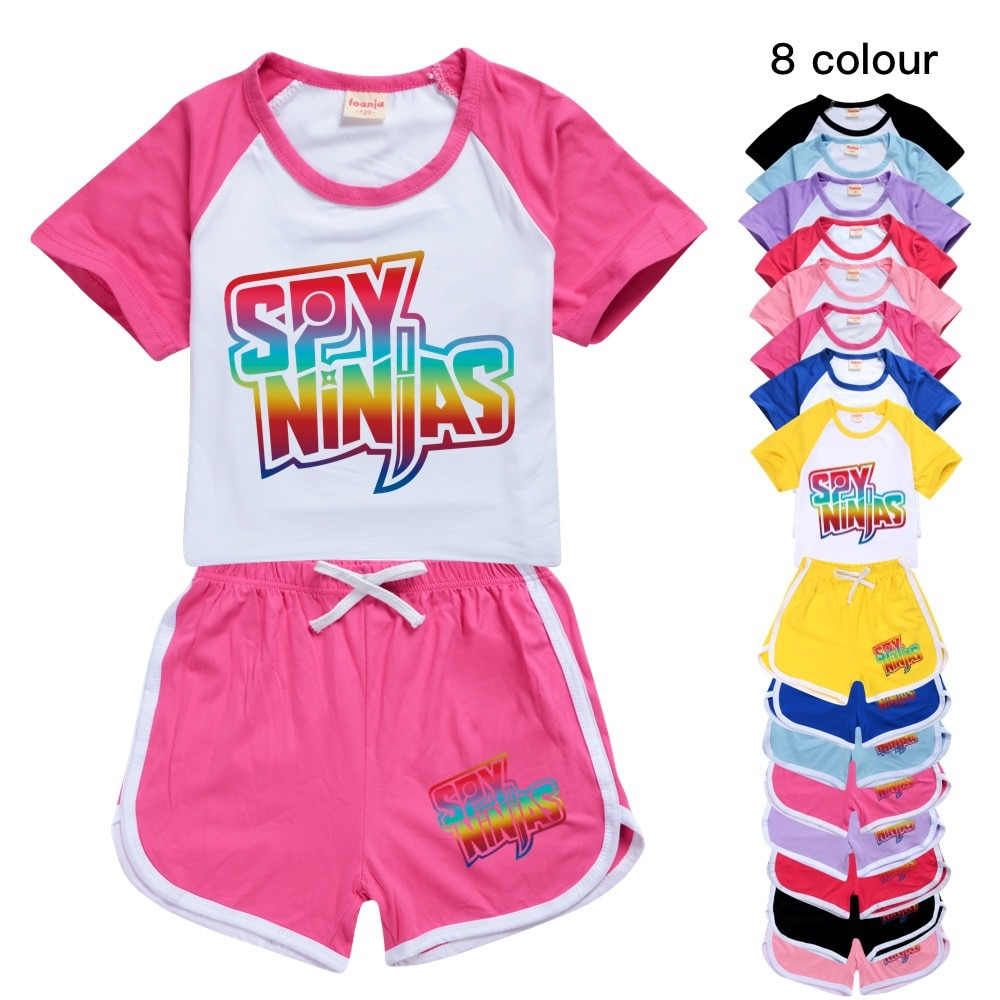 SPY NINJA 100-170 Amazon's New T-shirt Shorts Casual Sports Suit Kids Boutique Clothing Wholesale Baby Girl Tops Set Boys Tshirt