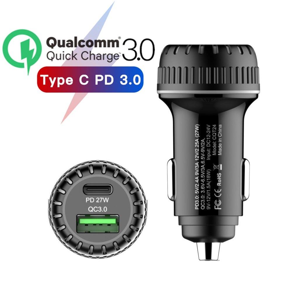 Мини-адаптер для автомобильного зарядного устройства, два USB Type C PD 27 Вт Быстрое зарядное устройство с индикатором для Samsung S8 S9 huawei P20 Xiaomi Iphone X
