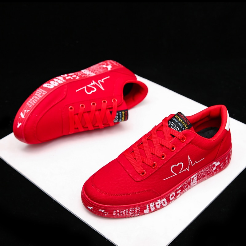 Sneakers Women 2021 Fashion Vulcanized Shoes Ladies Lace-up Casual Shoes Breathable Canvas Lover Shoes Graffiti Flat