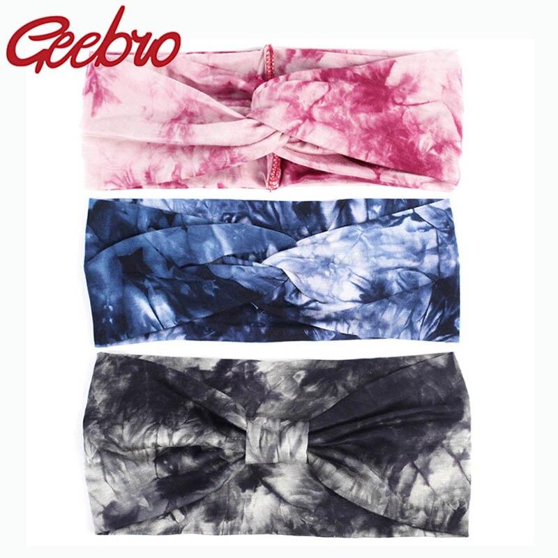 Diademas Geebro de algodón suaves a la moda para mujer, cintas de cabello con nudo elástico de verano para chicas y chicas, accesorios para Yoga turbante
