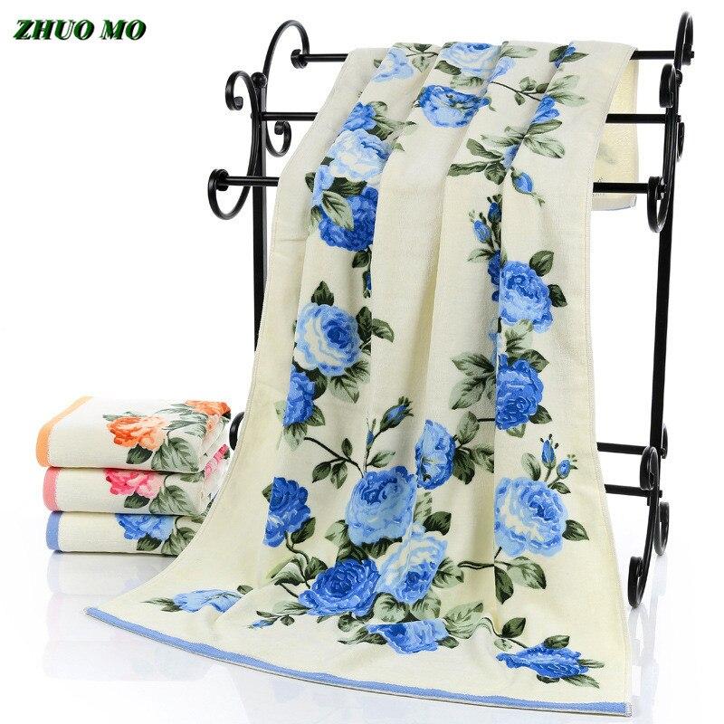 Toalla de lujo de flores de peonía de ZHUO MO, toallas textiles para el hogar de algodón para mujeres, de 70x140cm Toalla de baño, toallas de felpa para adultos