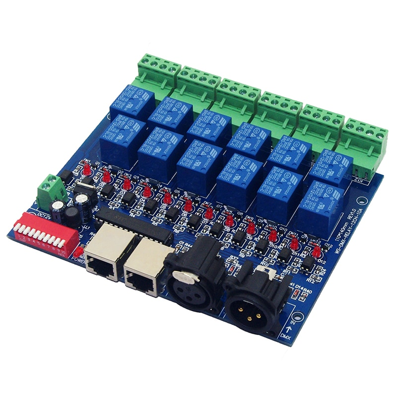 12CH Relay switch dmx512 Controller RJ45 XLR, relay output, DC12V 10A*12CH,DMX512 relay control,12 way relay switch for led