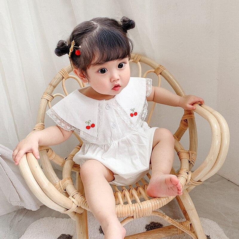 Body de bebé peter pan con cuello bordado de cerezas para bebé de una pieza sin mangas de encaje para bebé 0-2 años