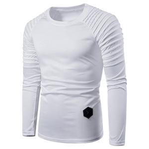 new men t summer casual slim long sleeve t-shirts hip hop solid color folds tops tee male
