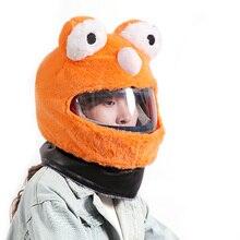 Housse de casque dextérieur pour moto   Couverture personnalisée, polaire de corail, Orange, pour faire du vélo