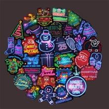 Figuras de dibujos animados de la serie de neón de Papá Noel, grafiti, coche, monopatín, decoración impermeable, juguete adhesivo, venta al por mayor, 10/30/50 Uds.