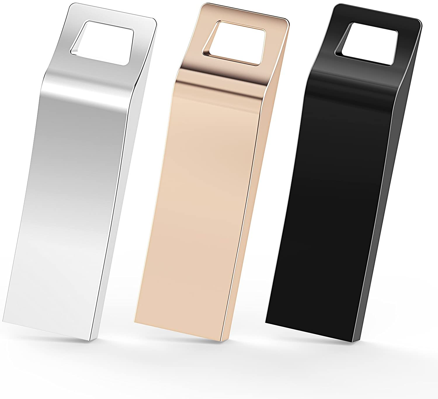 TOPESEL 3 Pack USB 2.0 Flash Drives Metal Memory Stick Waterproof Thumb Drive (3 Mixed Colors: Black, Gold, Silver)