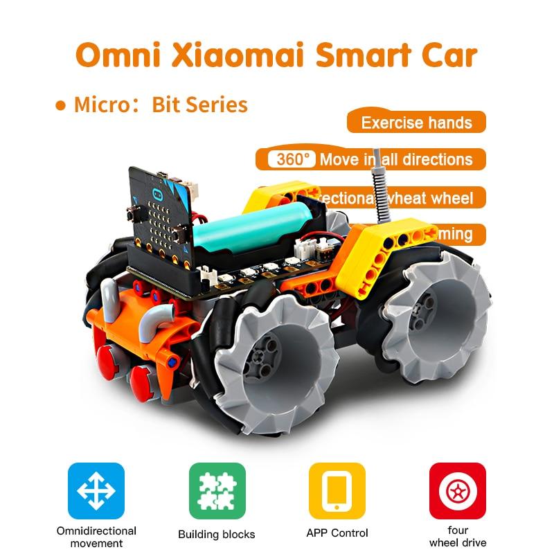 Kit de aprendizaje de robótica Programable bloques de construcción rueda Mecanum coche Robot inteligente para Micro bit juguetes educativos de tallo para niños