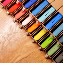 Official Silicone Strap For Apple Watch 7 6 Se Band 44mm 40mm 38mm 42mm Rubber Watchband Bracelet Apple Watch 3 4 5 SE Strap