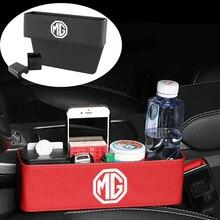For MG Logo ZS ES HS GS Morris 3 GT MG3 MG5 MG6 MG7 TF ZR Car Seat Gap Storage Box Leather Auto Central Case Car Accessories