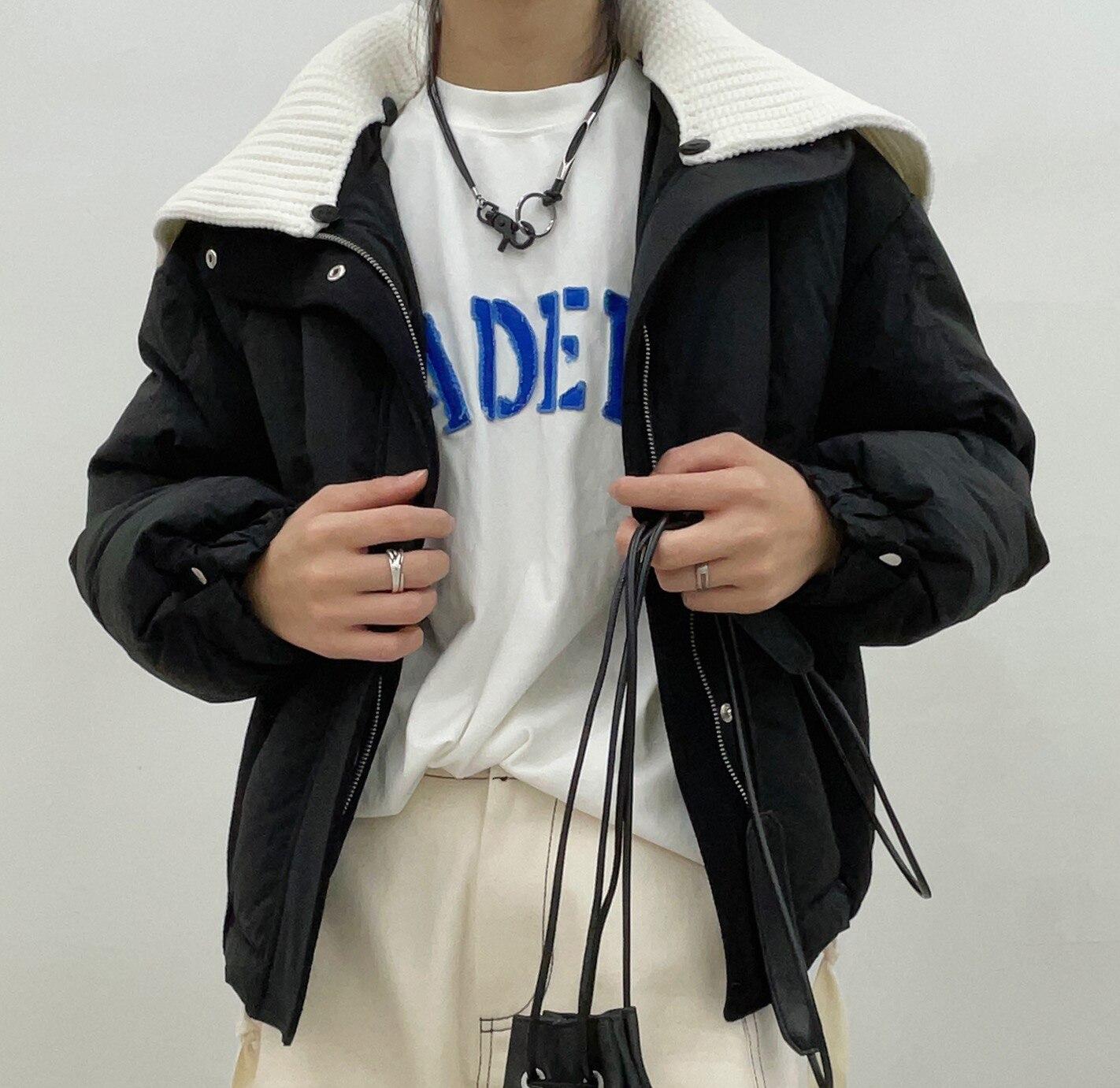 عالية الجودة المرأة الدفء التباين اللون المرقعة محبوك طوق قصيرة أسفل معطف تنحنح الرباط تصميم