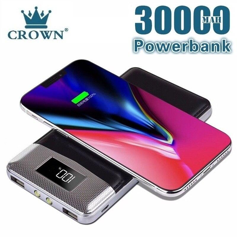 30000mah Power Bank External Battery Bank Built-in Wireless Charger Powerbank Portable QI Wireless C