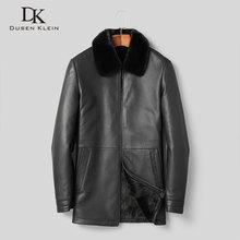 Hommes hiver manteau chaud vestes épais survêtement en cuir véritable peau de mouton + vison fourrure manteau 2019 nouvelle veste T1830