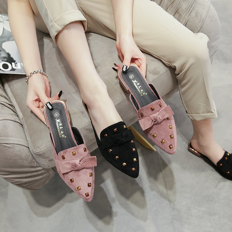2021 spring outdoor designer ladies pumps slippers low-heel casual shoes British high heels summer rivet pumps women s girls denim jeans blue ripped low heels slippers cloth kitten heel shoes pumps slingback