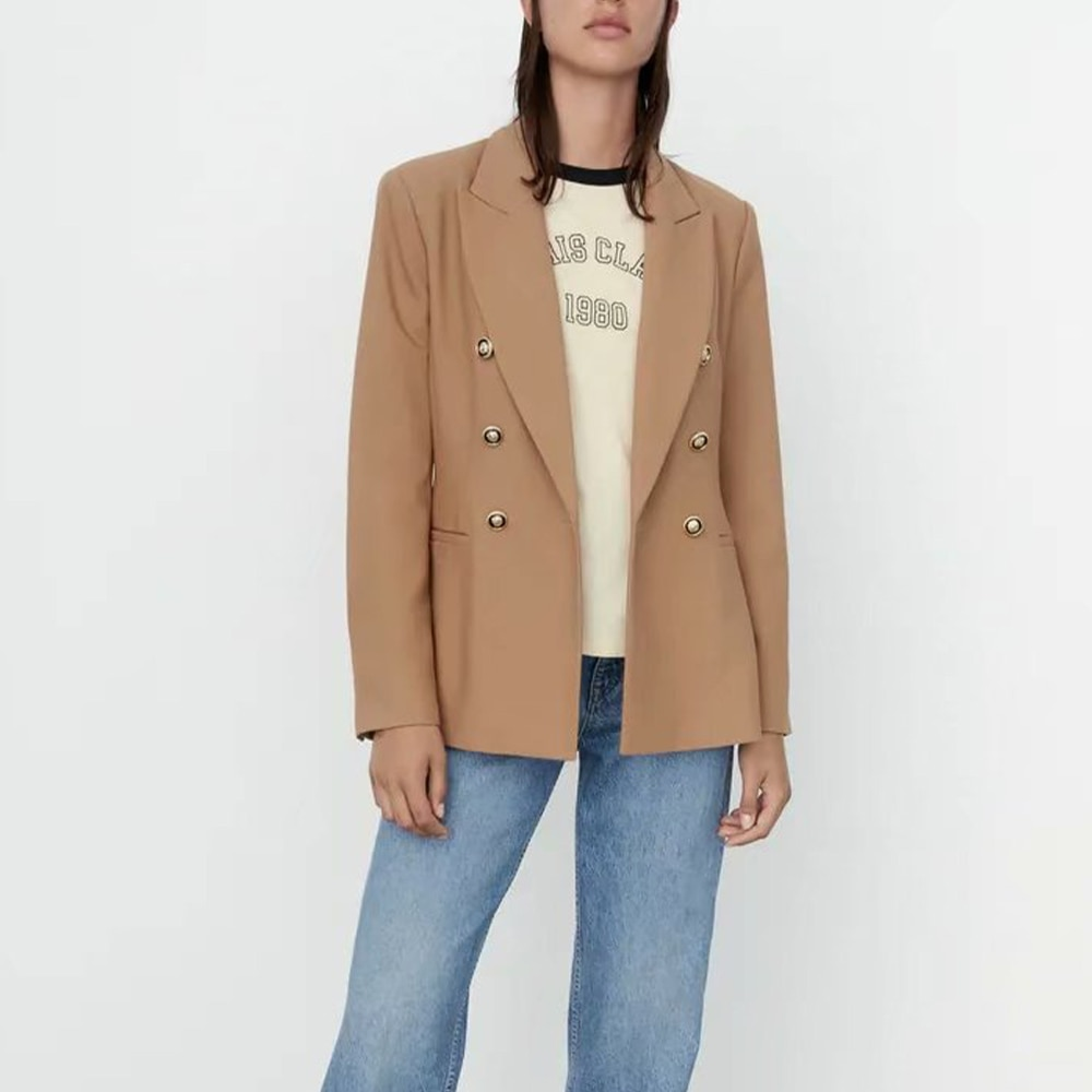2021 Za المرأة أوائل الخريف موضة جديدة مزدوجة الصدر ضئيلة السترة معطف Vintage جيوب طويلة الأكمام الإناث ملابس خارجية أنيقة