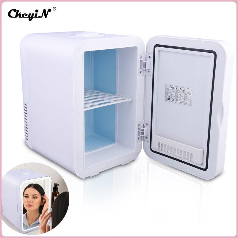 CkeyiN 4L/6L ثلاجة صغيرة ماكياج التجميل الثلاجة قناع الوجه منتجات العناية بالبشرة الجمال مصباح ليد مرآة برودة دفئا المنزل