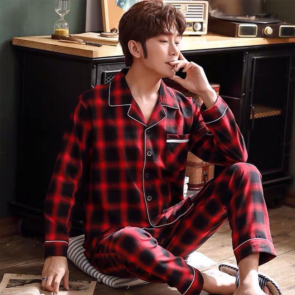 Весна осень пижама комплекты костюм трикотаж хлопок повседневный длинный рукав одежда для сна плед дом одежда плюс размер удобные пижамы для мужчин