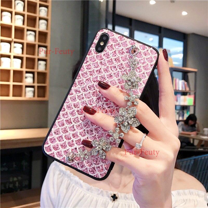 Para Xiaomi mi 8 mi 8SE 8lite mi 9 mi 9SE mi 8 mi 8SE 8lite mi 9SE caja del teléfono de Bling pulsera de cadena de metal de diamantes cubierta de flores
