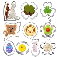 11 pcs valentines day stainless steel wedding cookie cutter biscuit mold flower fondant cake home baking frame decorate tools