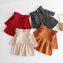 Herbst Warme Mädchen Kleid Infant Kinder Baby Mädchen Rippen Warme Kleid Rüschen Long Sleeve Gestrickte Kleider Prinzessin Party Kleid