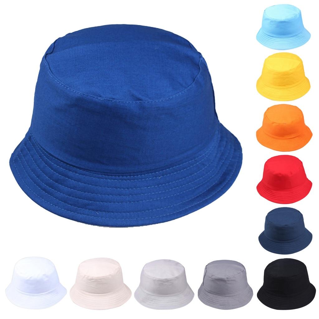 New Unisex Cotton Bucket Hats Women Summer Sunscreen Panama Hat Men Pure Color Sunbonnet Fedoras Out