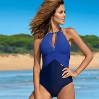 sexy bikini patchwork color one piece suit swimming wear for women 2021 summer backless off shoulder beach holiday biquini